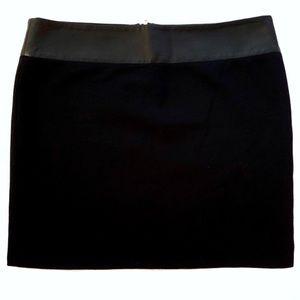 Alice & Olivia Leather Trim Mini Skirt XS Black